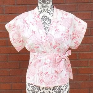 French Connection Wrap Shirt Cream Coral Floral 6